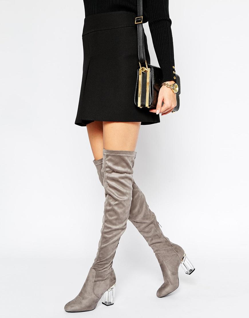 8a500cdbe66 Lyst - Public Desire Keira Clear Heel Over The Knee Boots in Gray