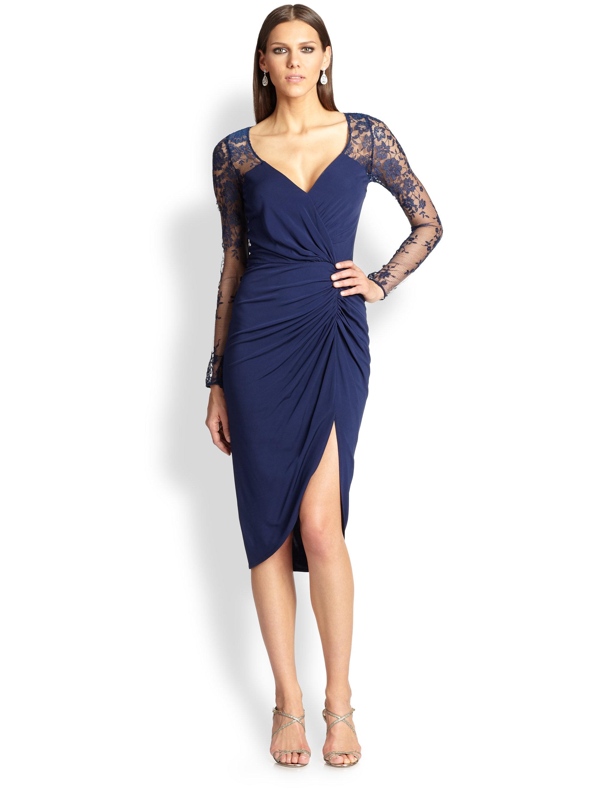 Lyst David Meister Lace Amp Jersey Dress In Blue