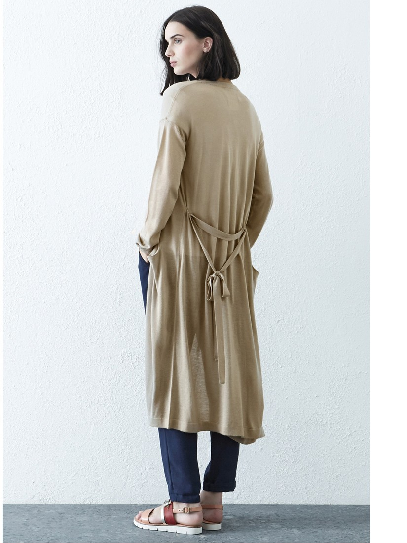 Warehouse Long Belted Cardigan in Natural | Lyst