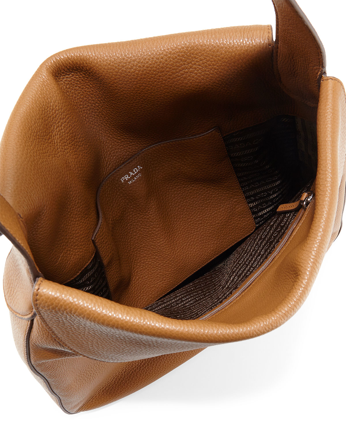 ... Lyst - Prada Cervo Doubled Flap-Top Leather Hobo Bag in Blac low priced  2b849 . ... e9235ac986