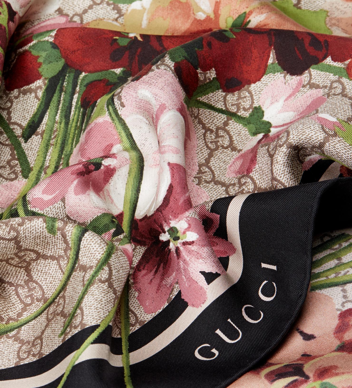 Floral-print silk scarf Gucci cfJLpCR3ZY