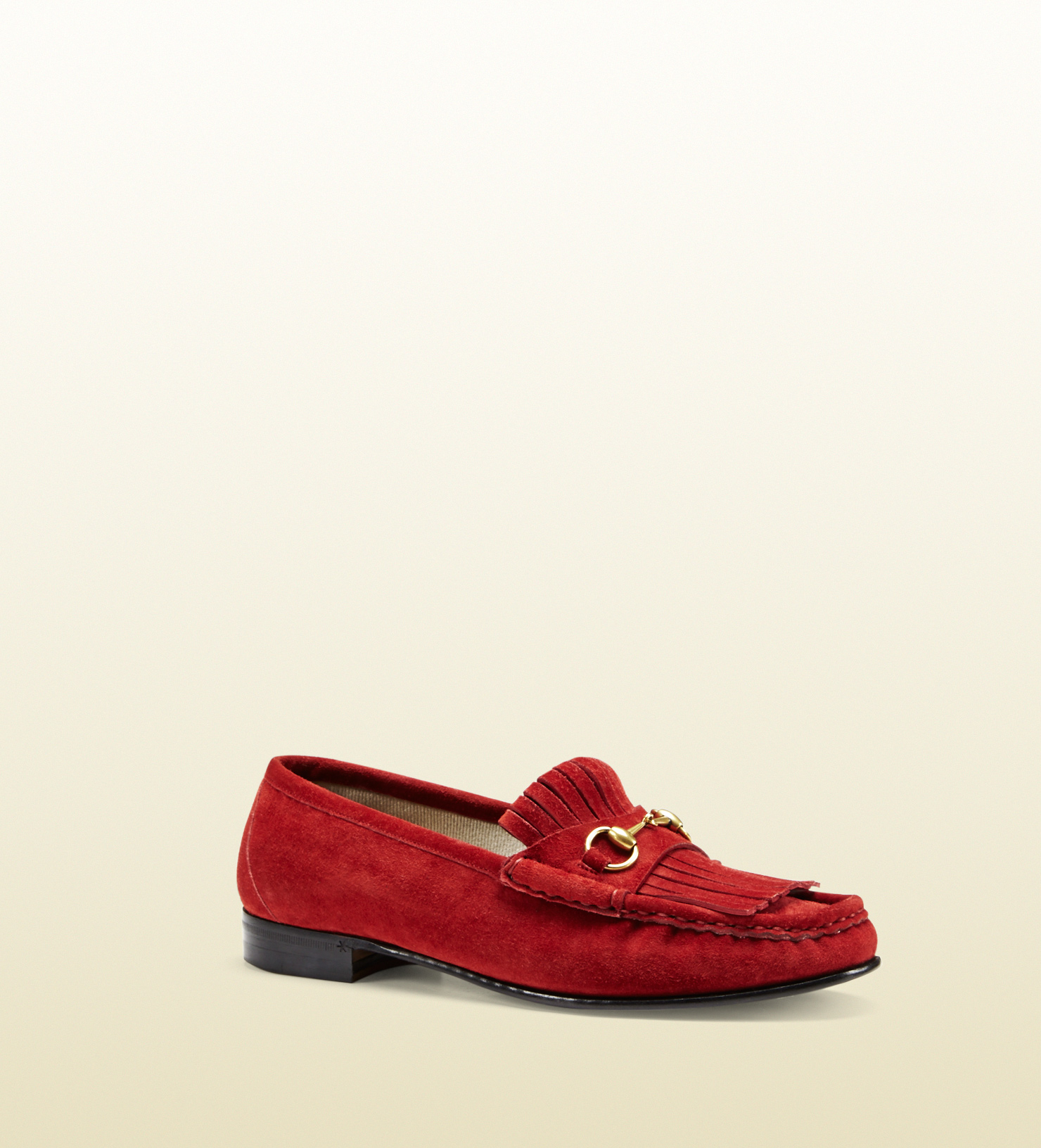 1e145faae52 Gucci Horsebit Loafer In Fringed Suede in Red - Lyst