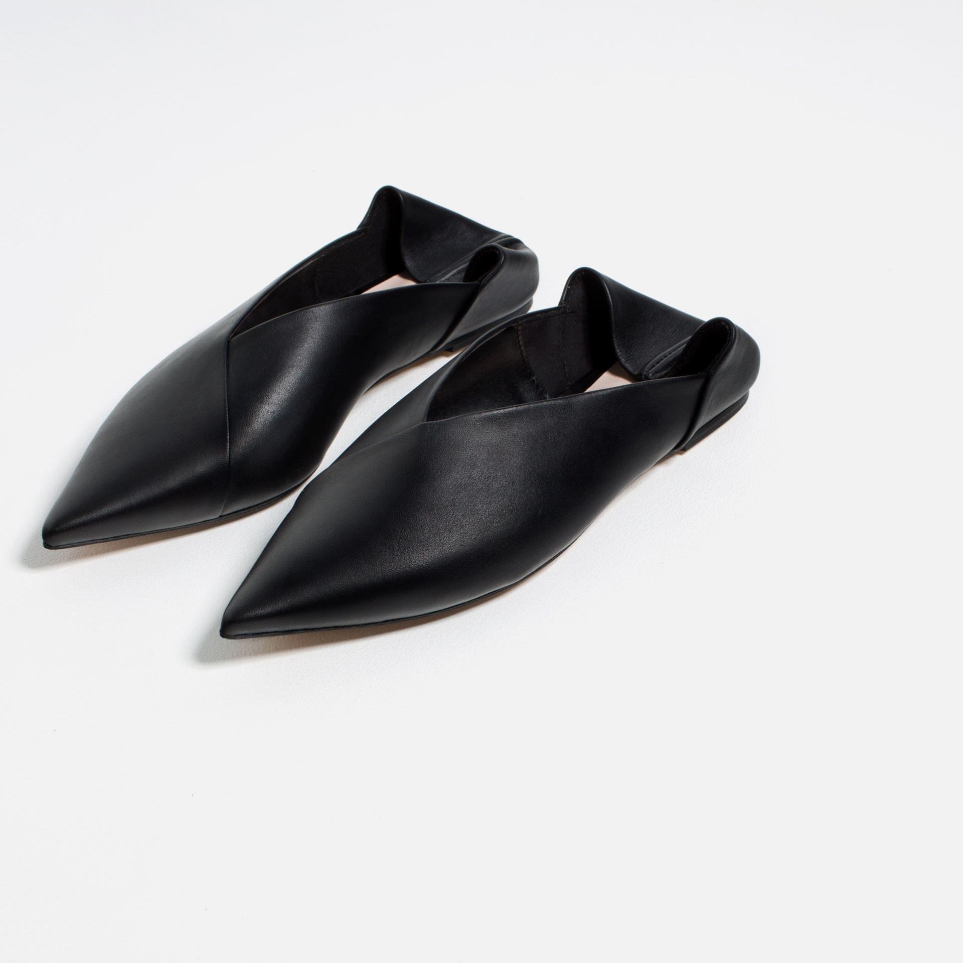 Perfect Zara Glossy Flat Shoes In Black  Lyst