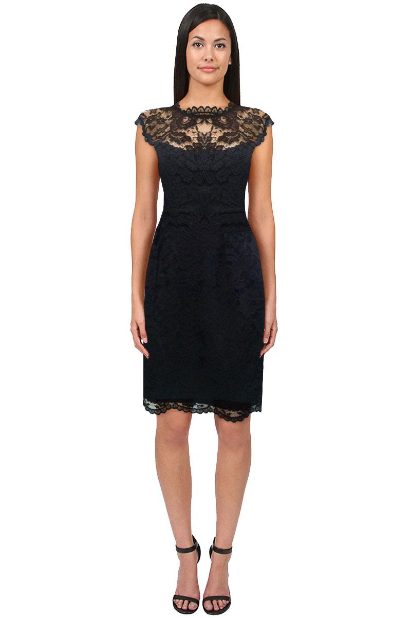 Shoshanna Lace Illusion Cap Sleeve Dress In Black Lyst