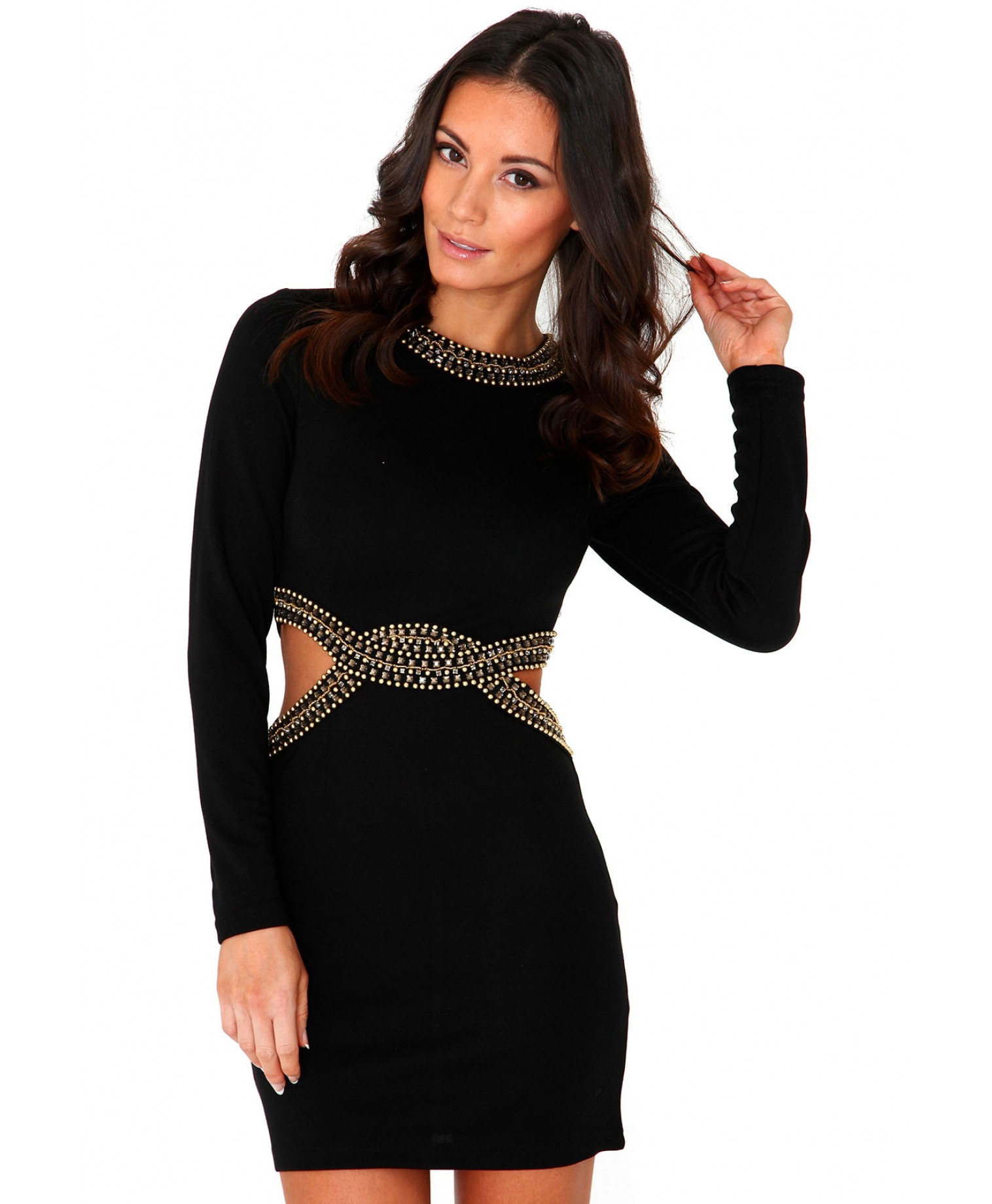 c9c54e91e078 Lyst - Missguided Farera Long Sleeve Cut Out Embellished Bodycon ...