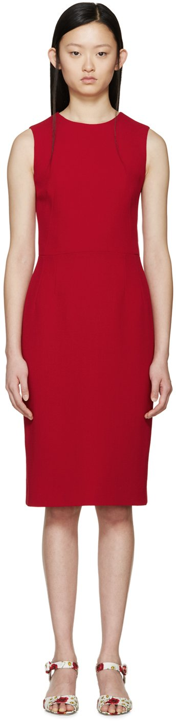 Dolce & gabbana Red Wool Crepe Dress in Red | Lyst