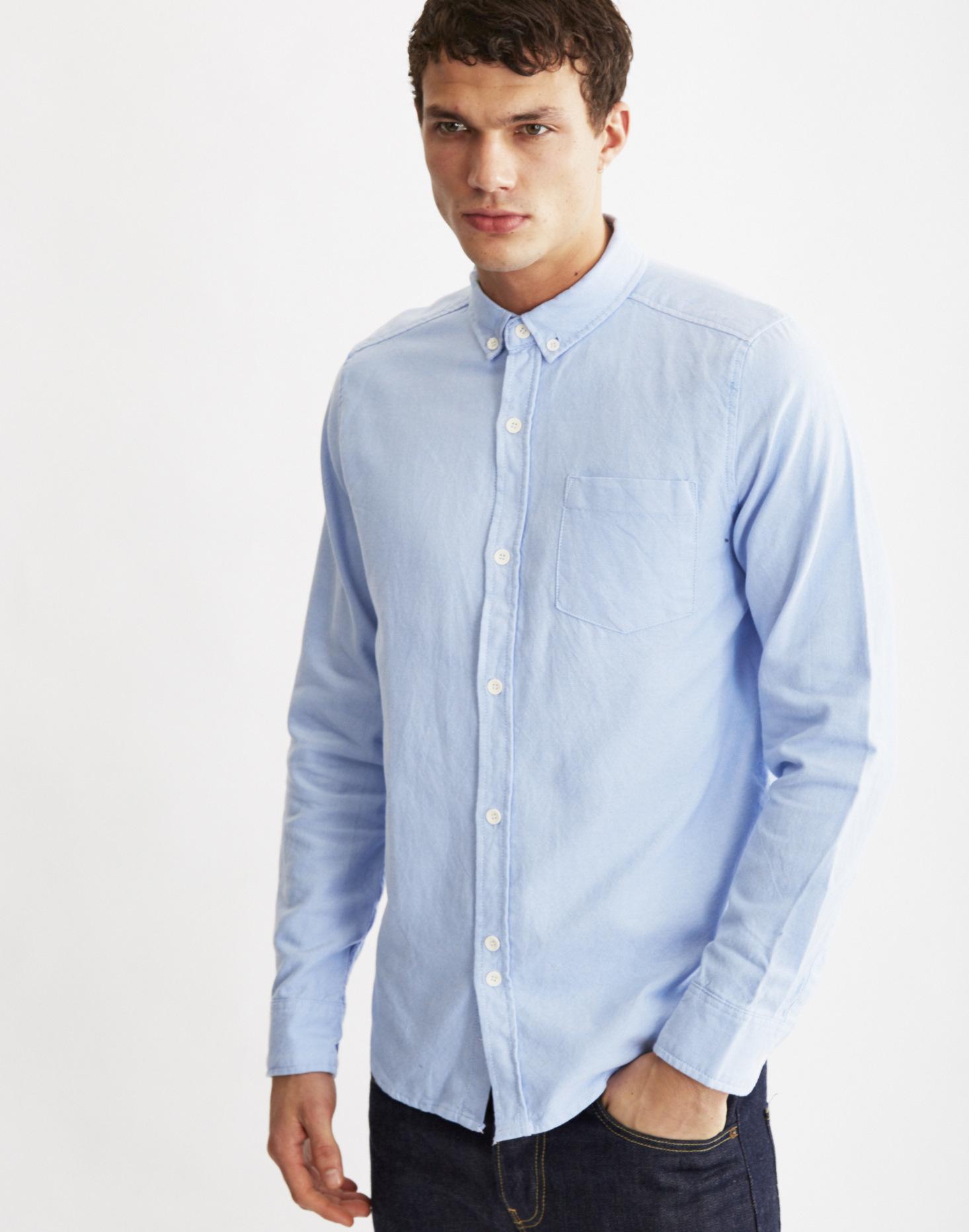 Lyst bellfield dunes oxford shirt in blue for men for Mens blue oxford shirt
