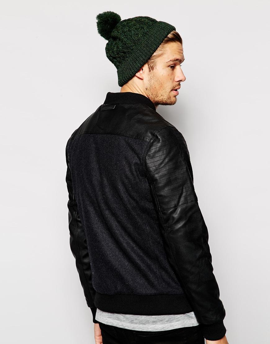 Blend Wool Bomber Jacket Pu Sleeves in Black for Men | Lyst