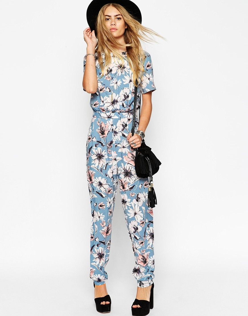 Lyst - Asos Floral Printed T-shirt Jumpsuit in Blue