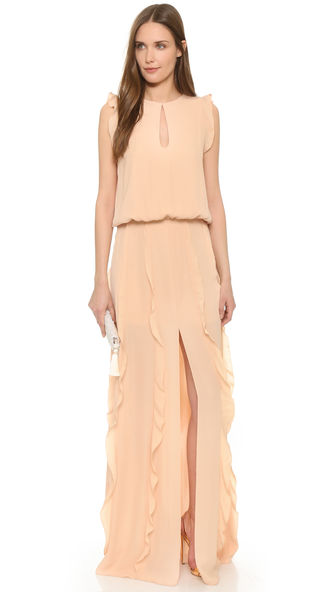 Alexis Frances Ruffled Maxi Dress in Pink | Lyst