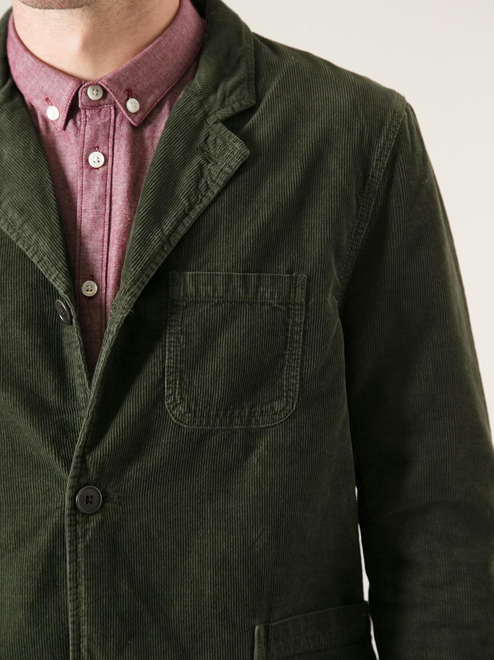 Edwin Three Button Corduroy Blazer In Green For Men Lyst