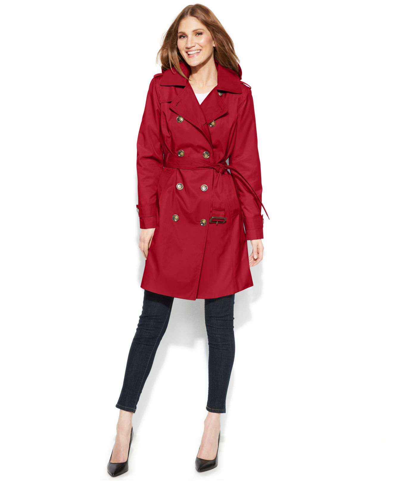 598dc637b74ec Lyst - London Fog All-Weather Hooded Trench Coat in Red