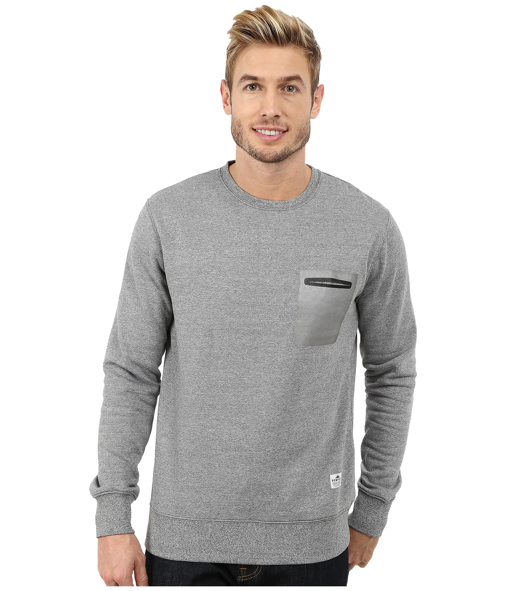Penfield Kendrick Reflective Pocket Crew Neck Sweatshirt in Gray ...