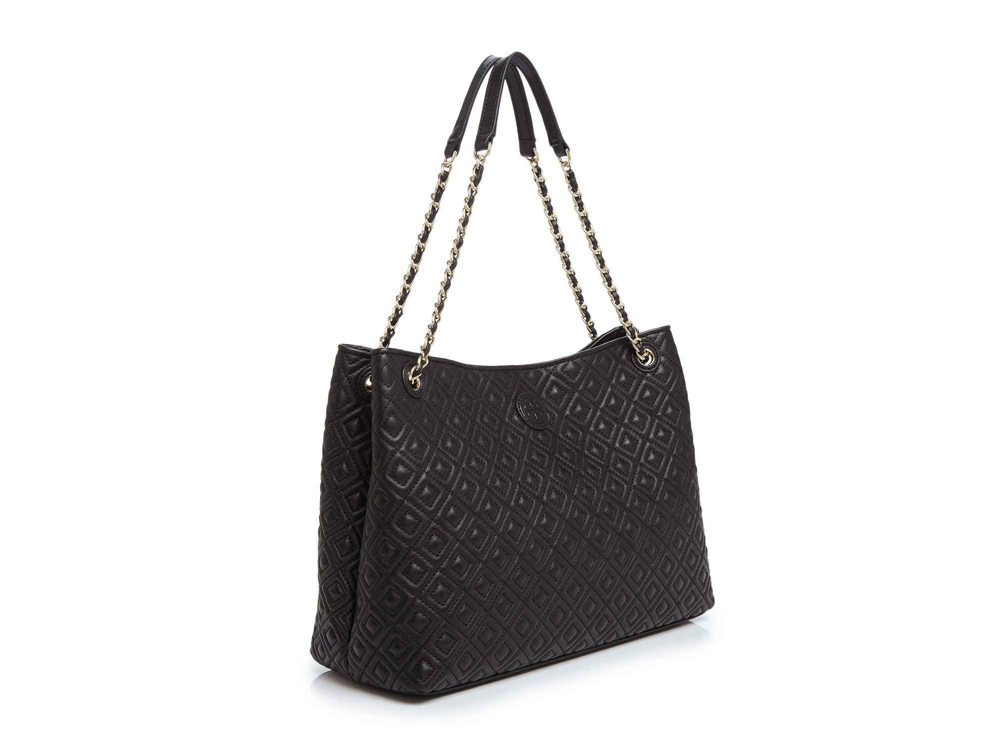 Tory burch Marion Quilted Tote in Black | Lyst : tory burch quilted tote - Adamdwight.com