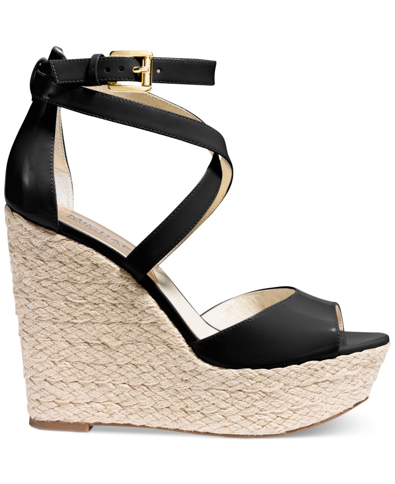 Black Patent Platform Wedge Shoes