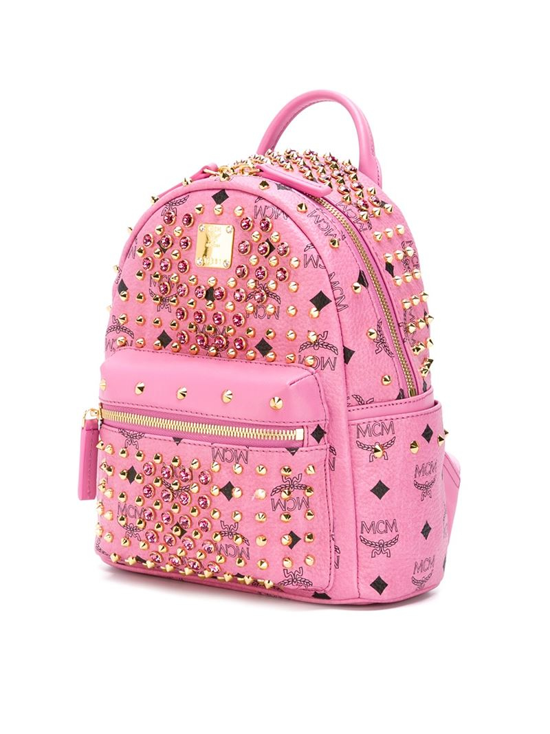 Mcm Small 'stark' Backpack in Pink | Lyst