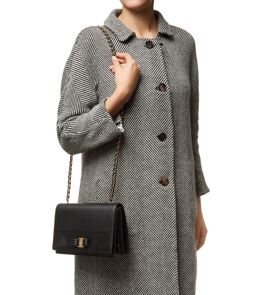 25e87cadff5 ... Ferragamo Medium Ginny Quilted Shoulder Bag in Black - Lyst wholesale  dealer 19391 c3156