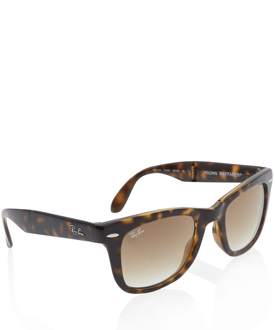 8c48fd503c694 Lyst - Ray-Ban Tortoiseshell Folding Wayfarer Sunglasses in Brown