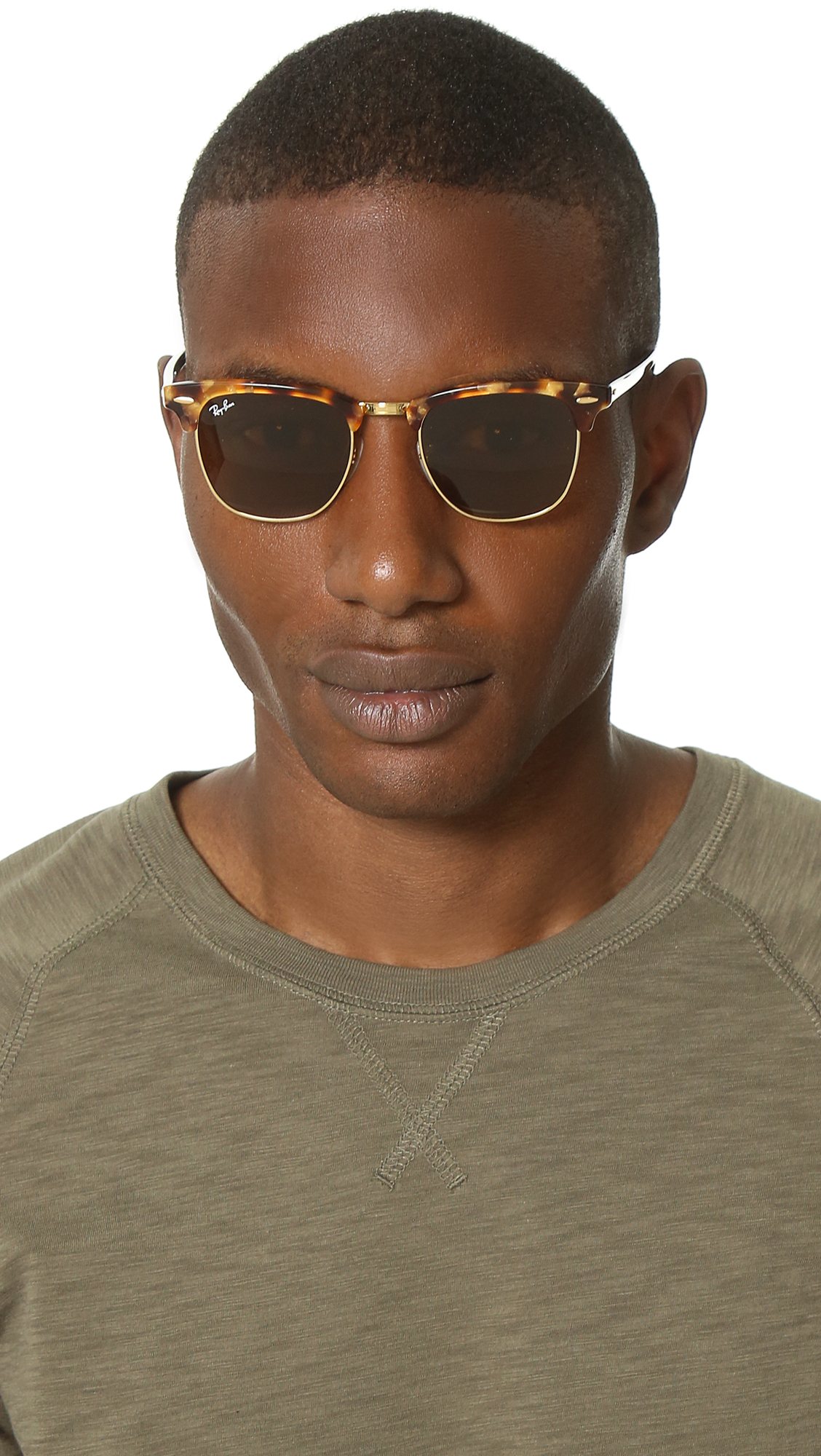 club master glasses  Ray-ban Spotted Clubmaster Sunglasses in Brown for Men