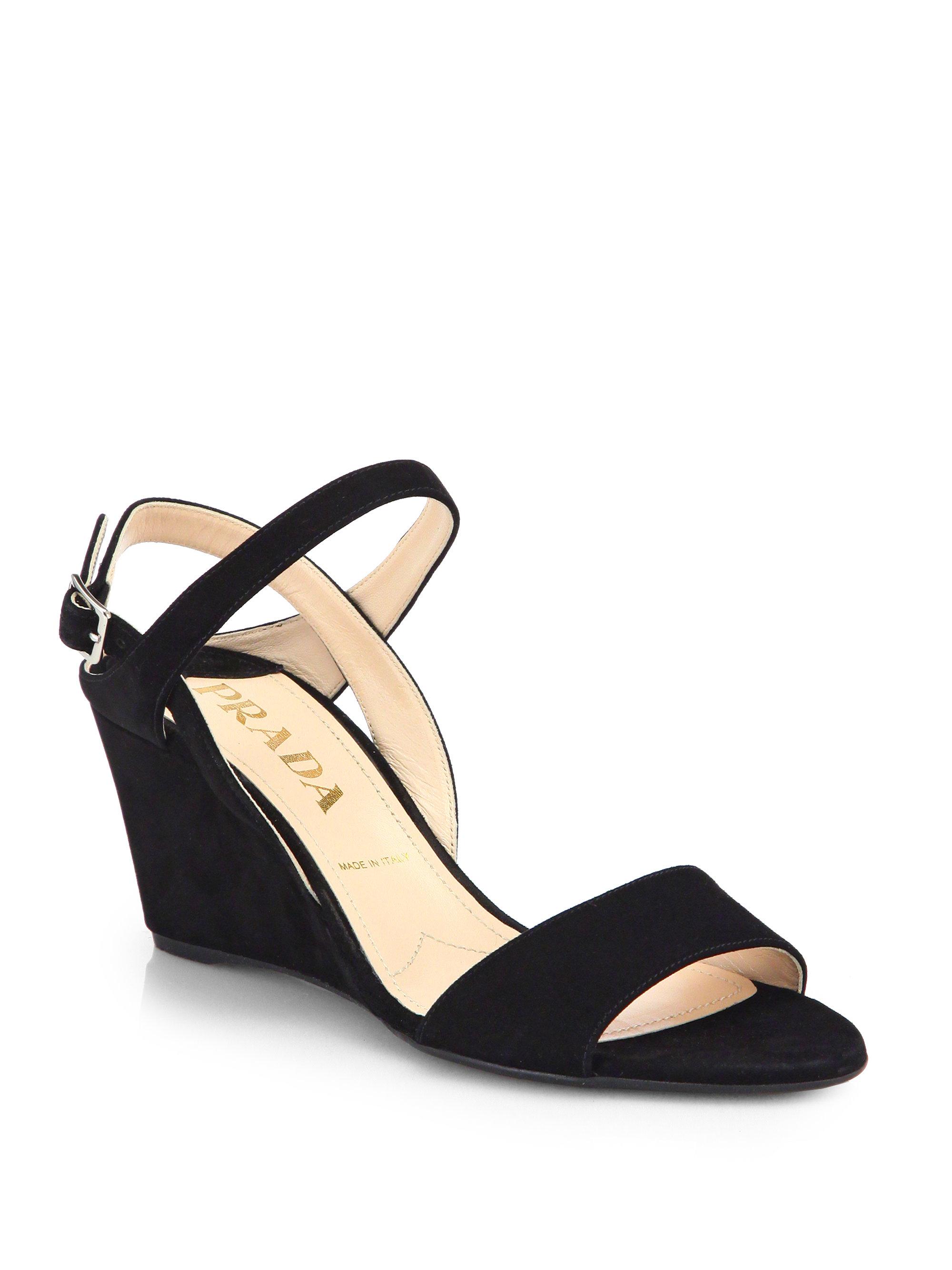 d4dd566017d Lyst - Prada Suede Slingback Wedge Sandals in Black