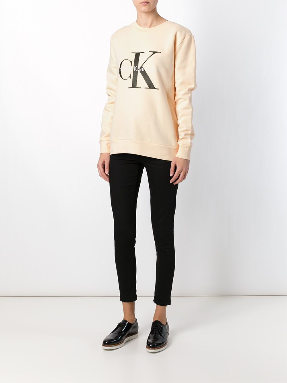calvin klein jeans logo print sweatshirt in pink lyst. Black Bedroom Furniture Sets. Home Design Ideas