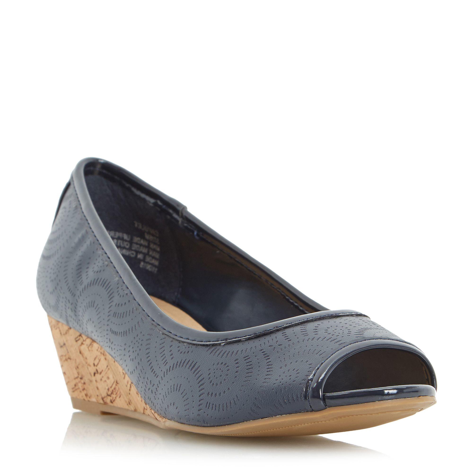 linea capulet cork wedge peep toe court shoes in blue