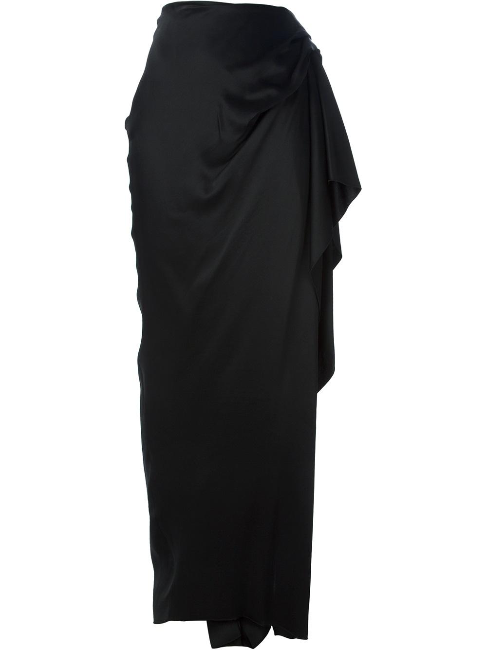 lanvin draped maxi skirt in black lyst