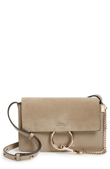 Chlo¨¦ Small Faye Suede and Leather Shoulder Bag in Brown (CLASSIC ...