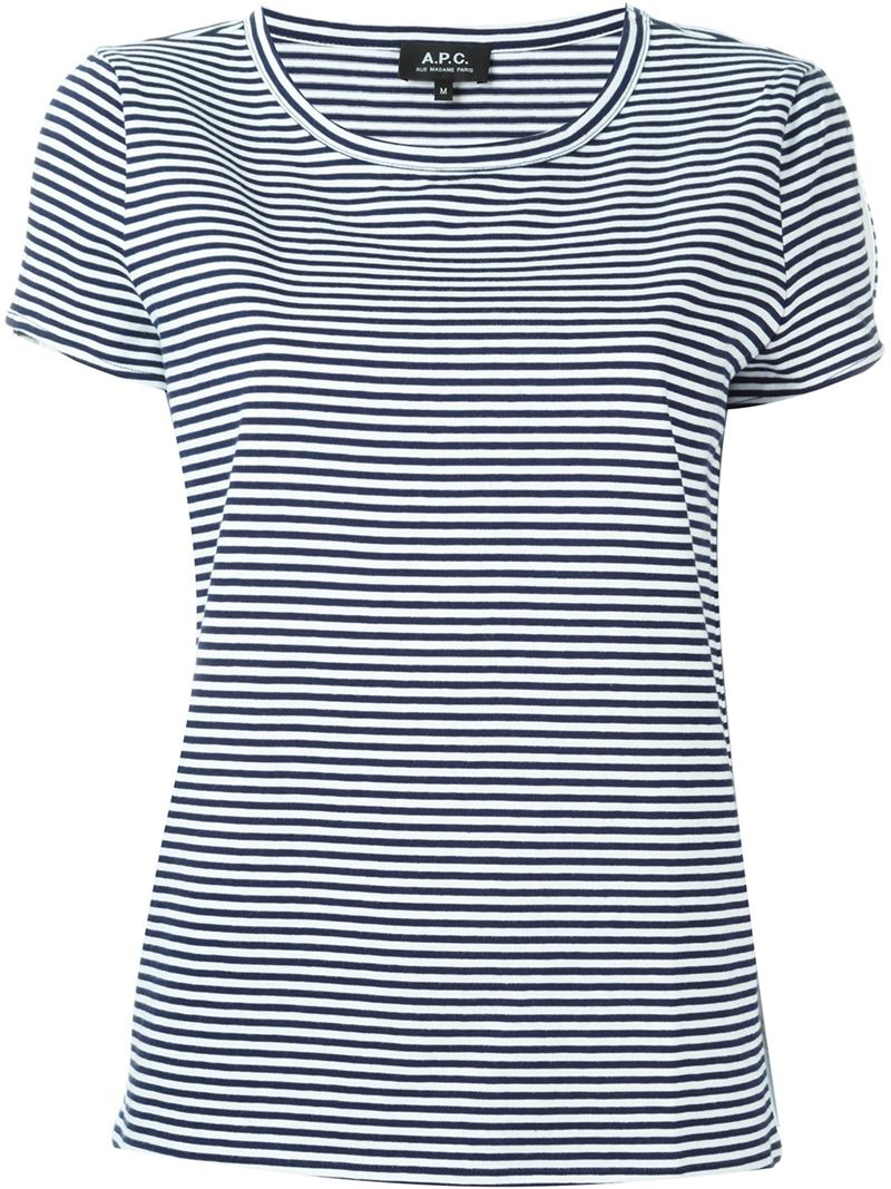 A p c striped t shirt in black lyst for Apc white t shirt