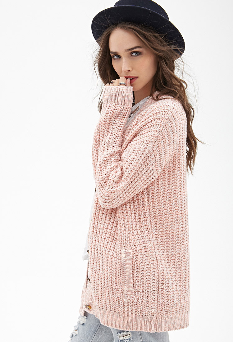 Forever 21 Marled Knit Longline Cardigan in Pink | Lyst