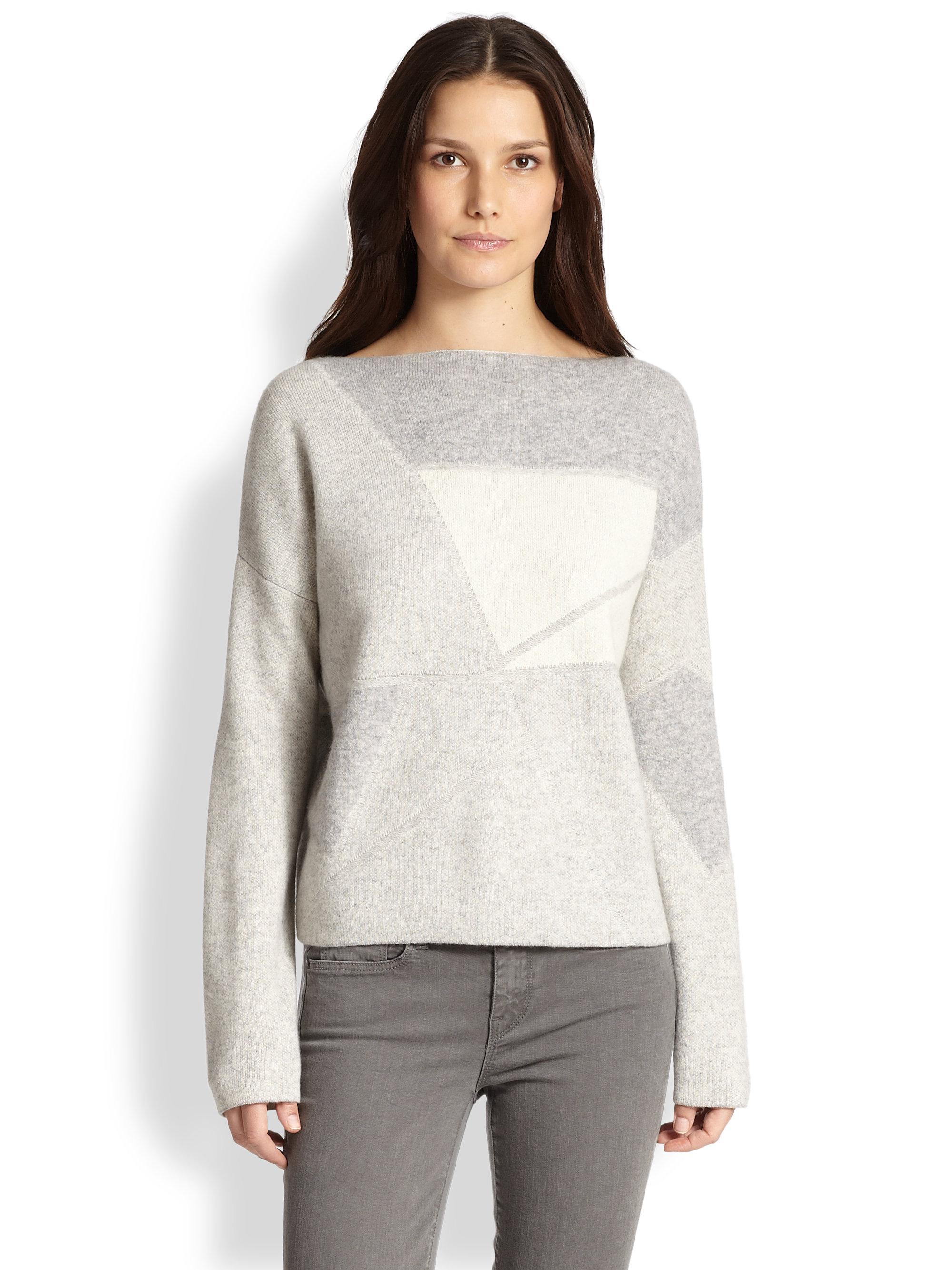 Wool Sweater Grey: Vince Wool & Cashmere Geometric Sweater In Gray