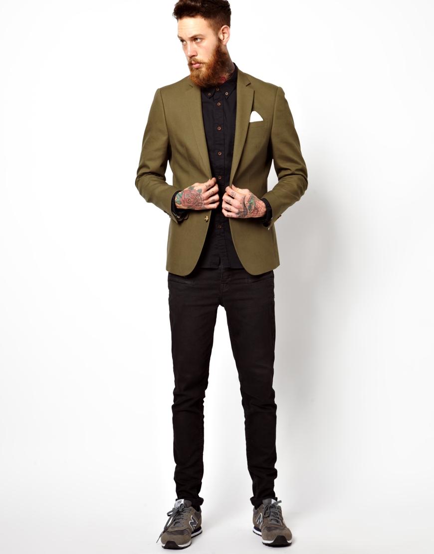asos slim fit blazer in cotton in natural for men lyst. Black Bedroom Furniture Sets. Home Design Ideas