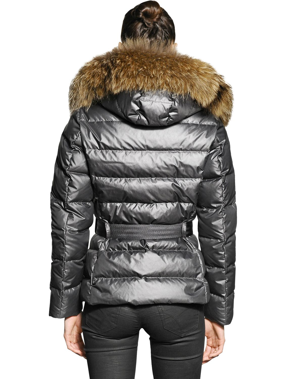 Moncler Angers Raccoon Fur On Nylon Down Jacket In
