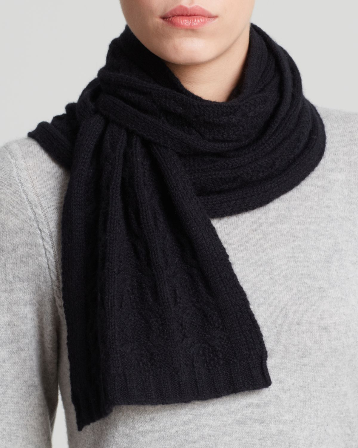 C by bloomingdales Cashmere Cable Knit Scarf in Black Lyst