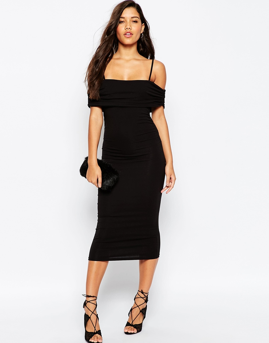 e64dba2715ee4 ASOS Off The Shoulder Bardot Midi Bodycon Dress With Straps in Black ...