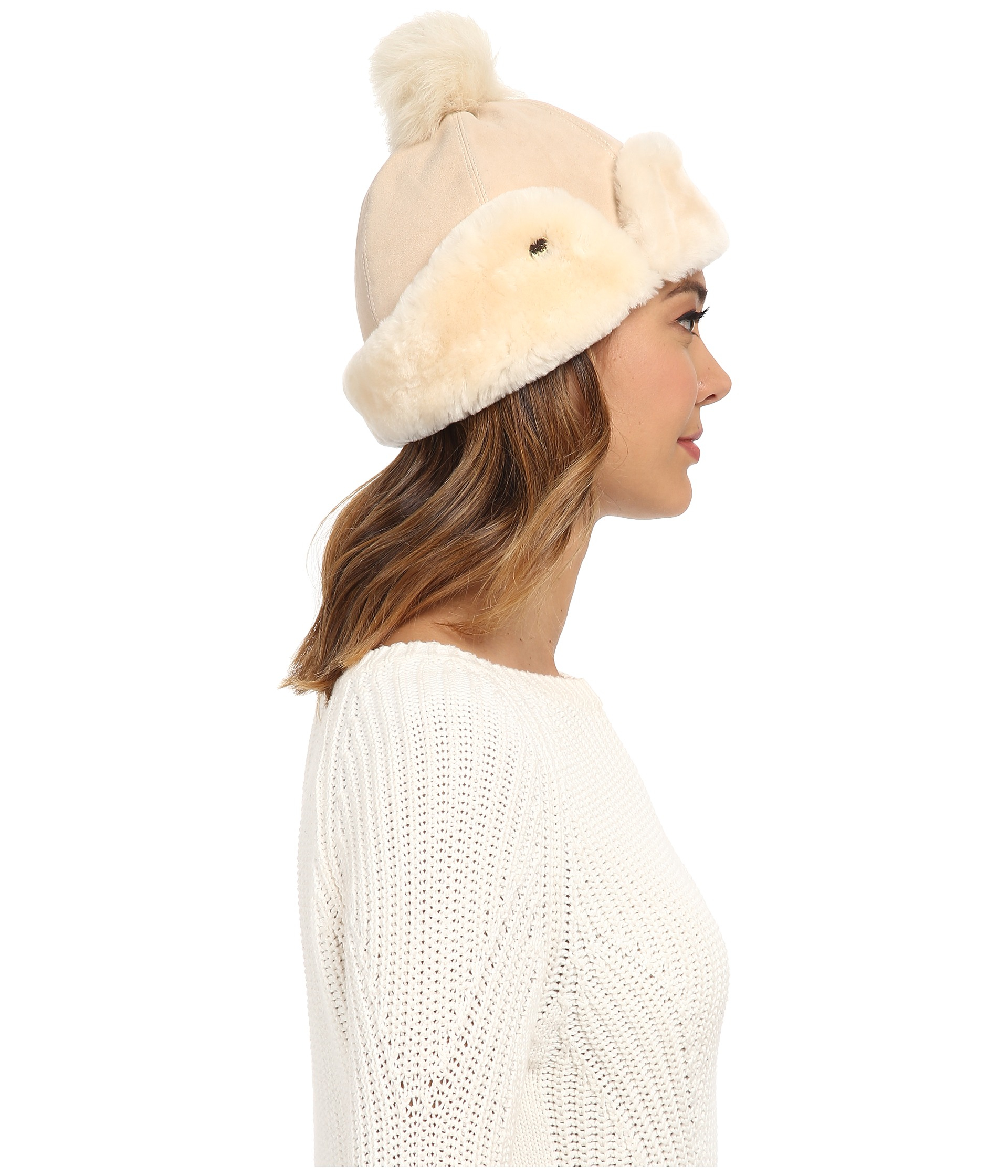 7b806ba63009d UGG Heritage Up Flap Hat W  Pom in Natural - Lyst