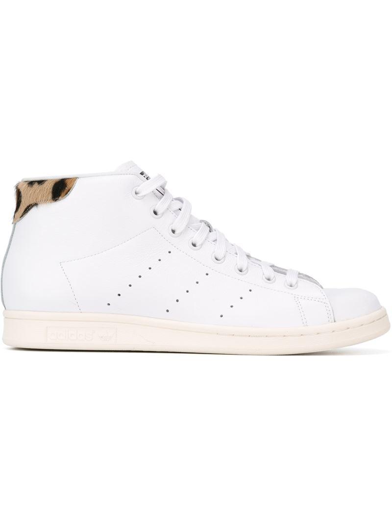 Brown Mid In Adidas Leopard Originals 'stan Smith' Lyst Sneakers 45RjA3L