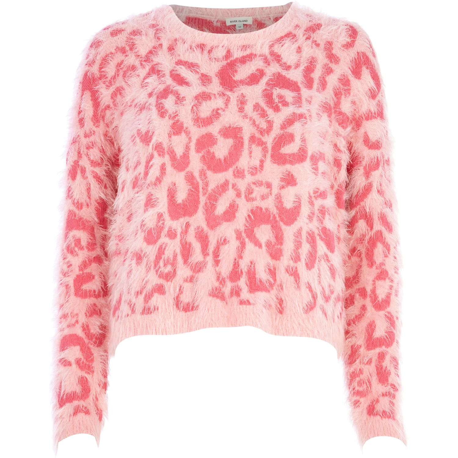 River island Pink Leopard Print Fluffy Cropped Sweater in Pink | Lyst