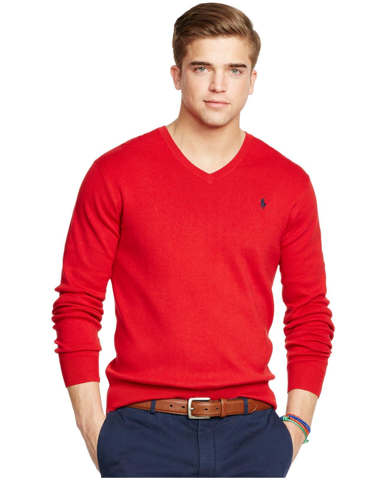 polo ralph lauren pima v neck sweater in red for men charter red lyst. Black Bedroom Furniture Sets. Home Design Ideas