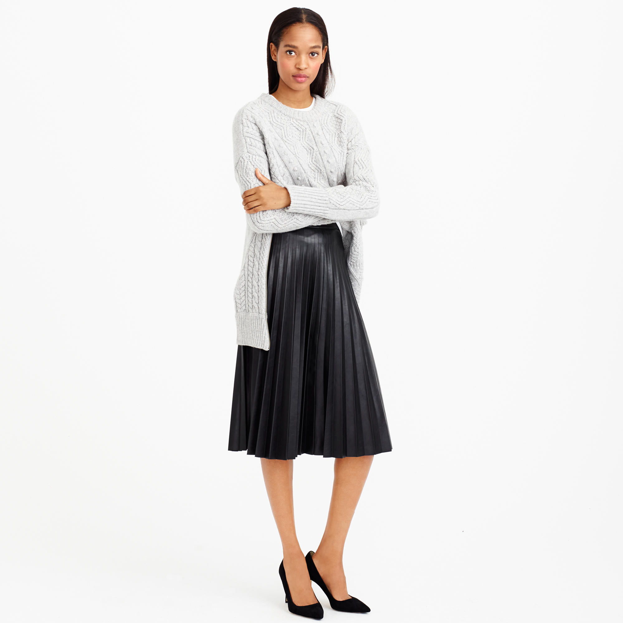 J.crew Petite Faux-leather Pleated Midi Skirt in Black | Lyst