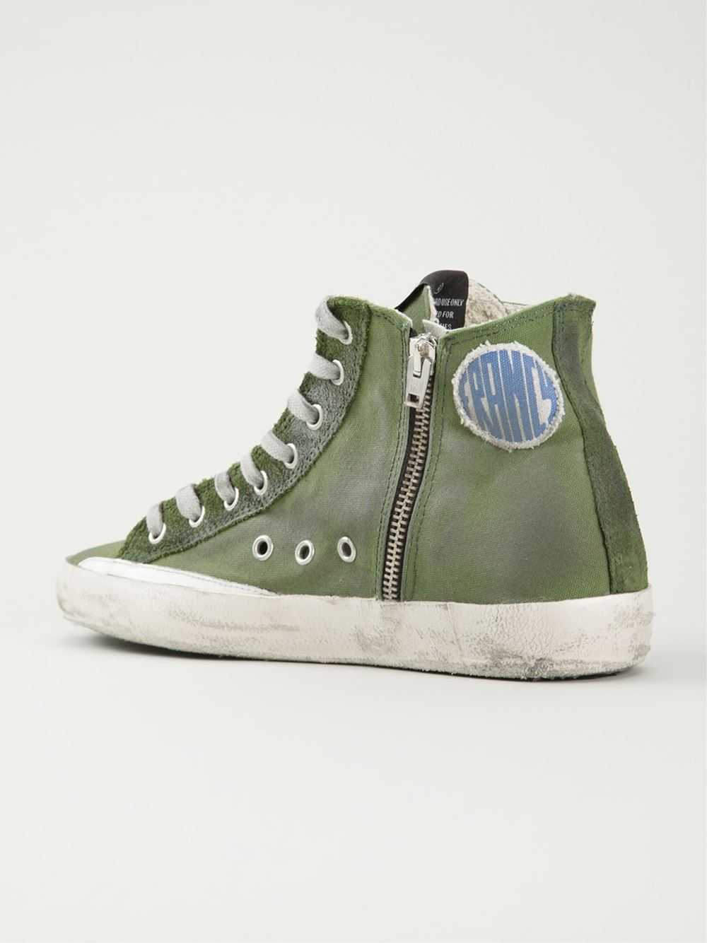 lyst golden goose deluxe brand francy high top sneakers in green. Black Bedroom Furniture Sets. Home Design Ideas