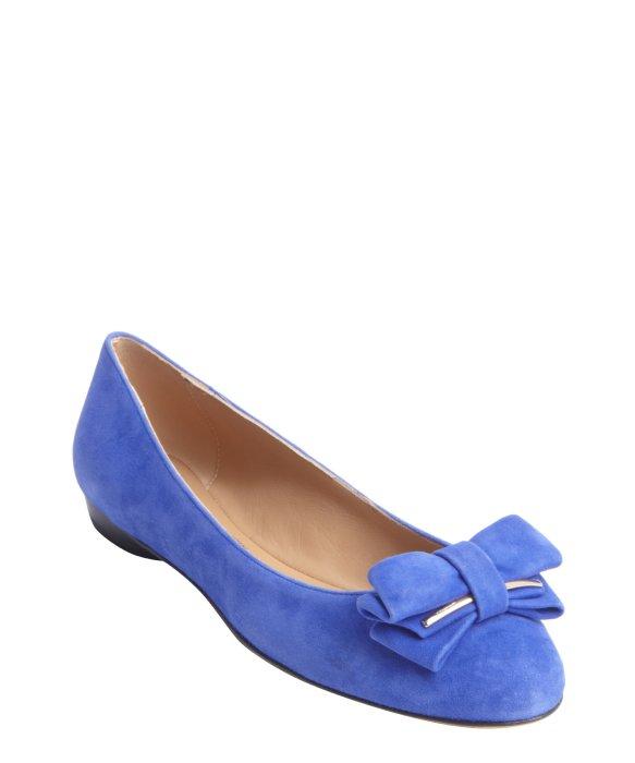 Ferragamo Blue Suede Rubia Bow Tie Detail Flats In Blue