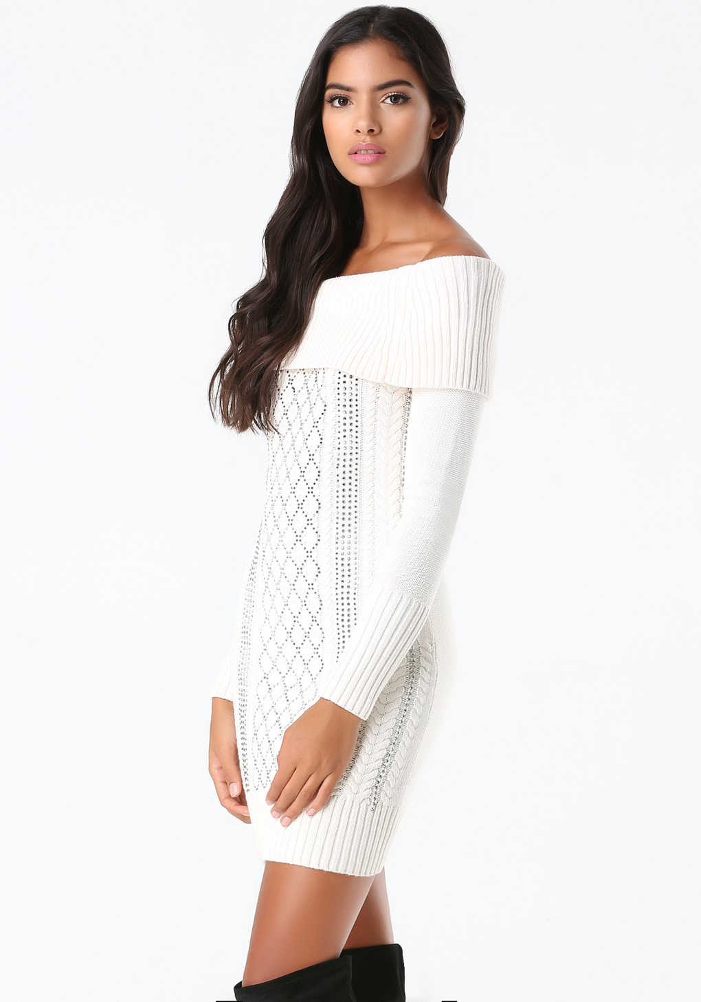 2bacf31a490 Bebe Off Shoulder Sweater Dress in White - Lyst
