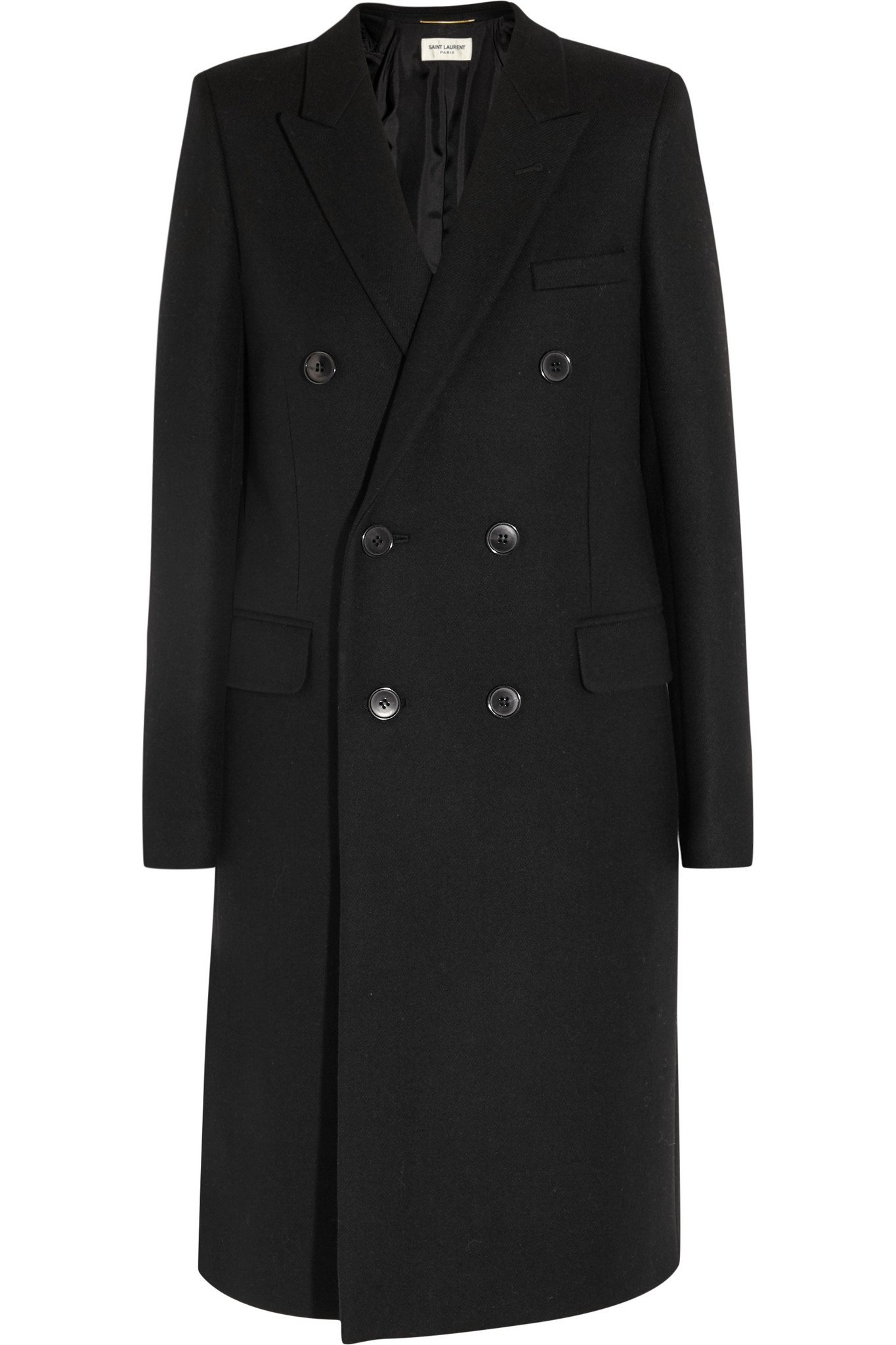 Saint laurent Double-breasted Wool-twill Coat in Black | Lyst