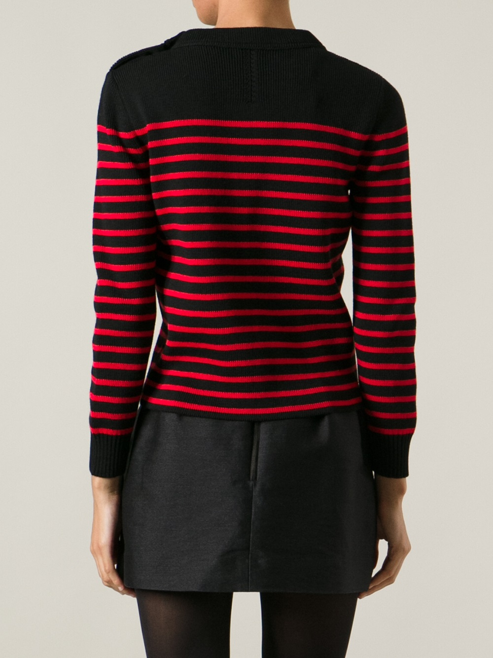 Saint laurent Sailor Knit Sweater in Red Lyst
