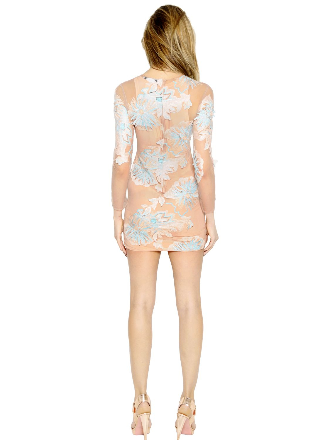 Blumarine floral embroidered tulle dress in pink lyst