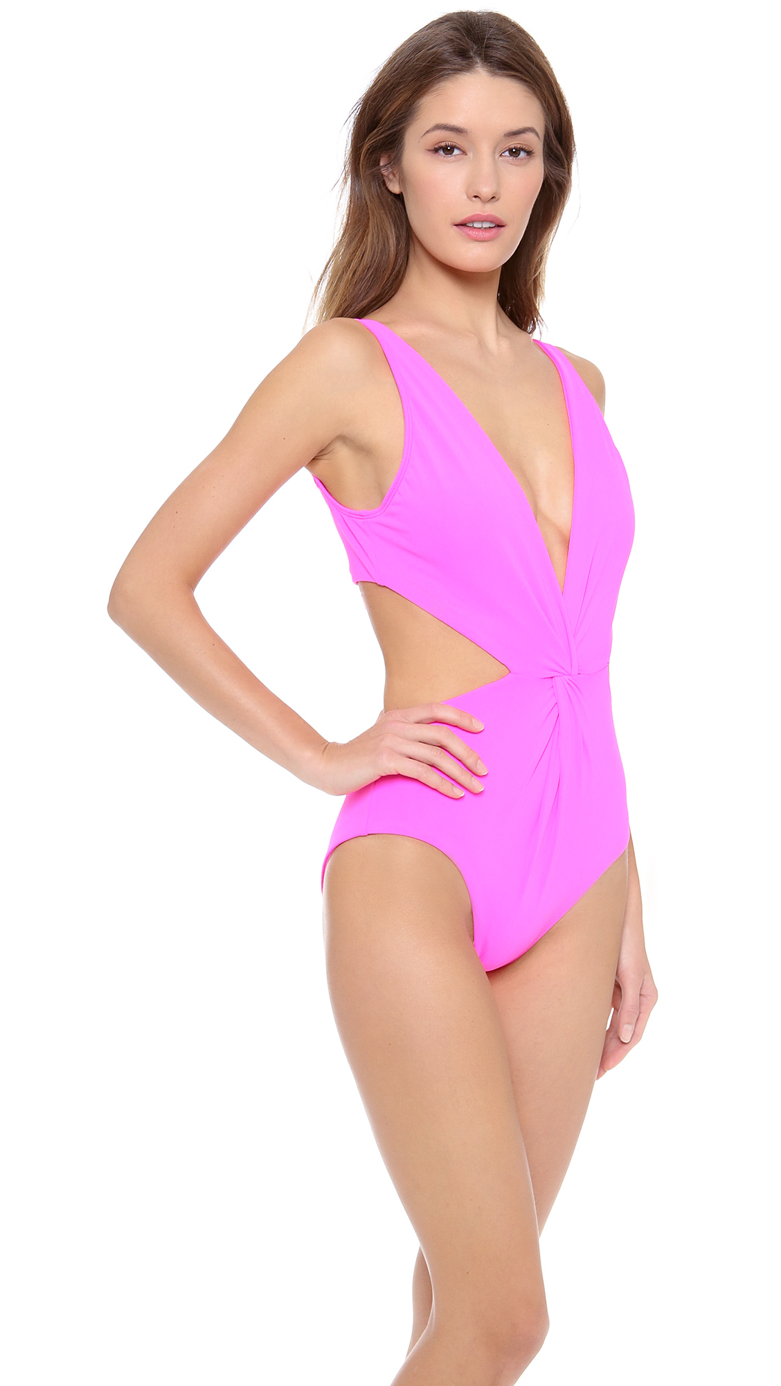 5de9e9f8b12 Mara Hoffman Front Twist One Piece Swimsuit in Pink - Lyst