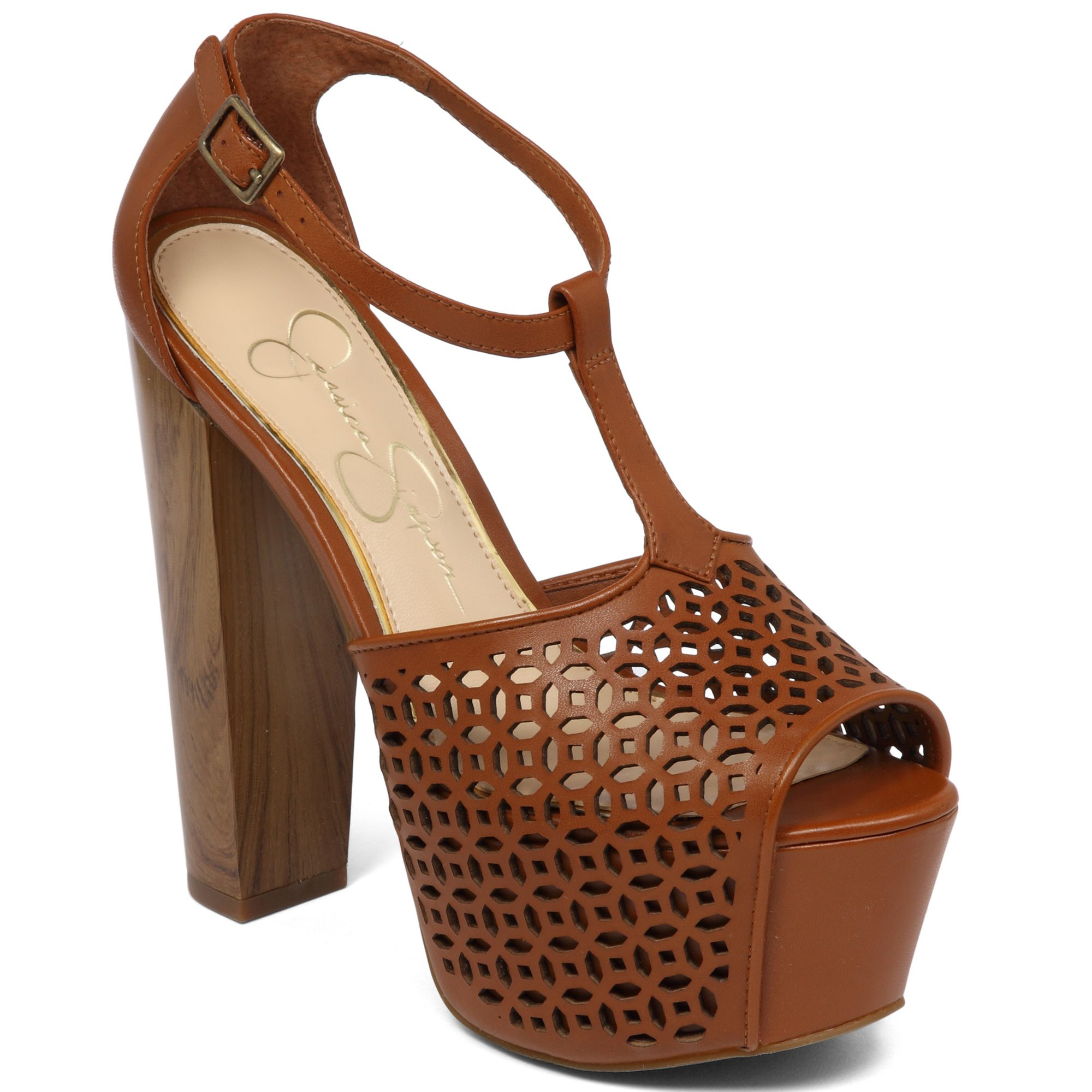 ed6e9345b6e9 Lyst - Jessica Simpson Dany Perforated Platform Sandals in Brown