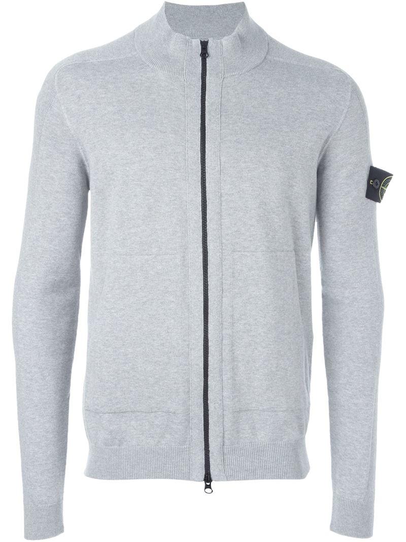 Stone island Zip Cardigan in Gray for Men | Lyst