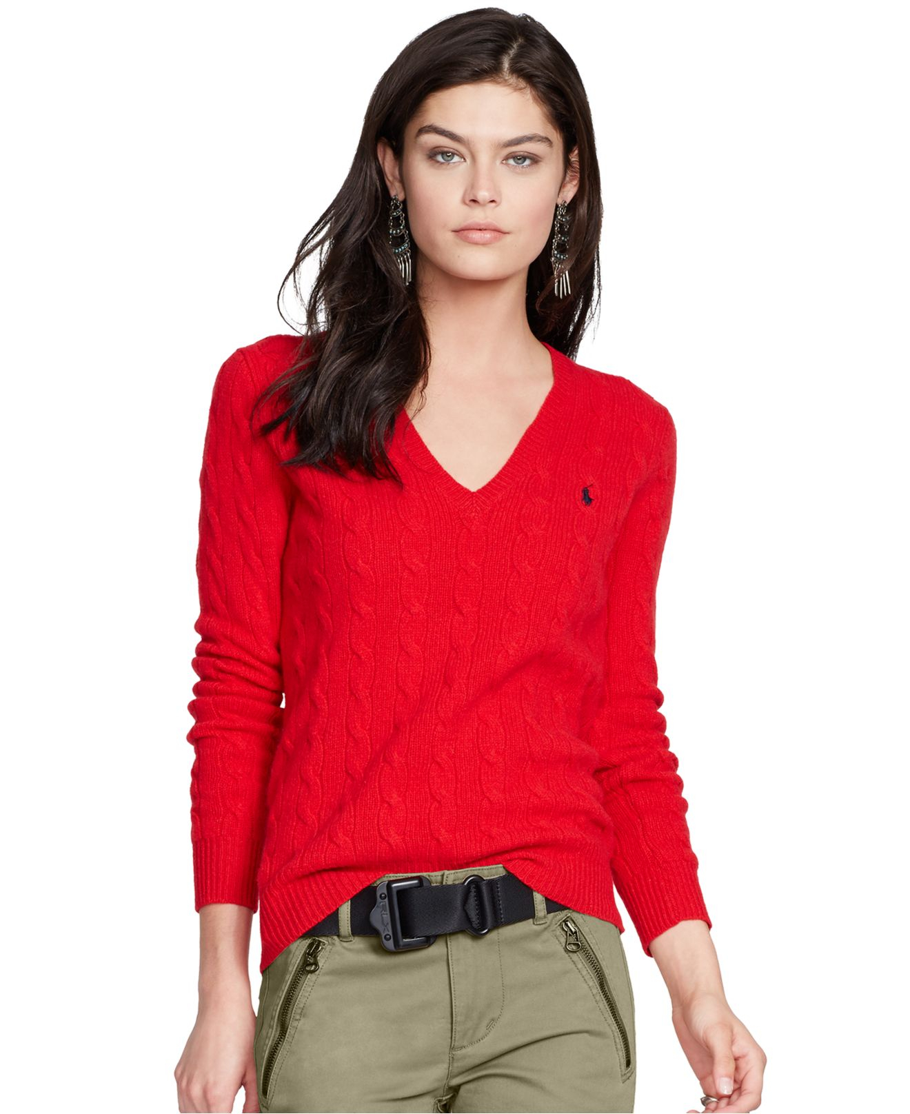 Polo ralph lauren V-neck Cable-knit Wool-cashmere Sweater in Red ...